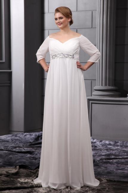 Etuikleider Große Größe Brautkleider Mit Ärmel Chiffon Weiß Hochzeitskleider Übergröße