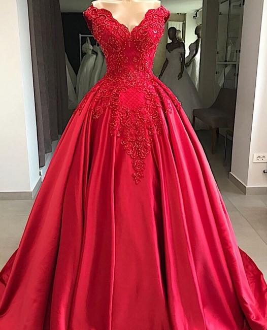 Modern evening dresses long red | Satin Prom Dresses Cheap Online