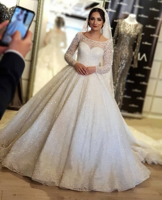 Noble wedding dress with lace and glitter | Elegant long sleeve wedding dresses cheap