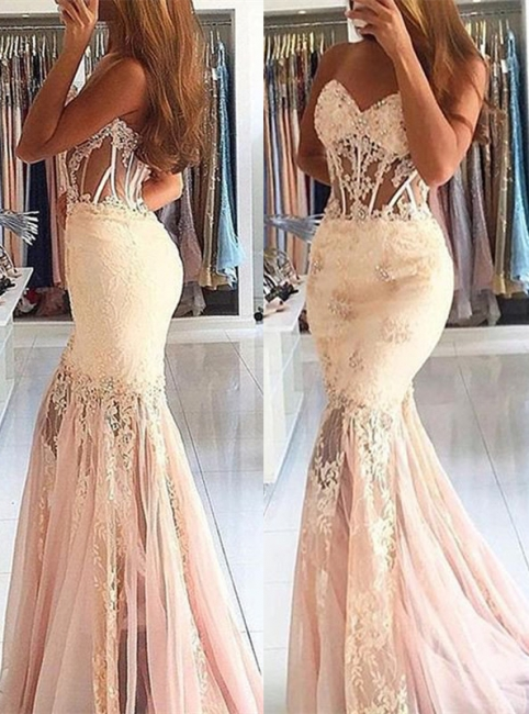 White Evening Dresses Long With Lace Mermaid Prom Dresses Party Dresses