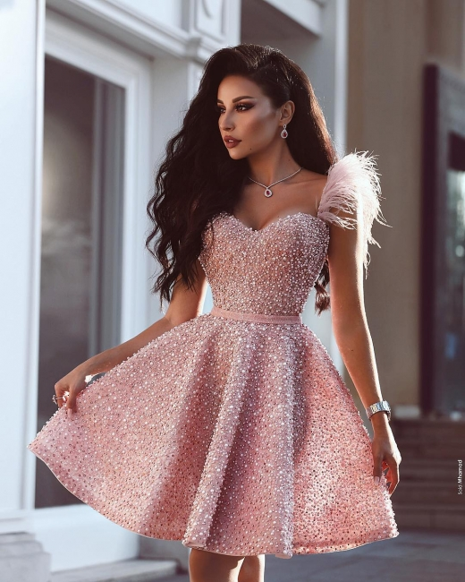 Luxury Pink Cocktail Dresses Short A Line Evening Dresses Mini Online
