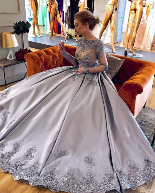 Siler evening dresses long with sleeves cheap lace party wear online shop