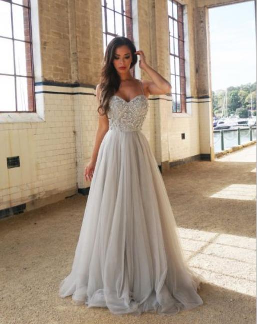 Silber Schöne Abendkleider Lang | Günstige Abendkleid Perlen Bestickt