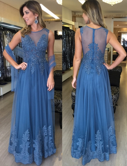 Simple Blue Long Evening Dresses With Lace Beaded Floor Length Tulle Evening Wear Prom Dresses