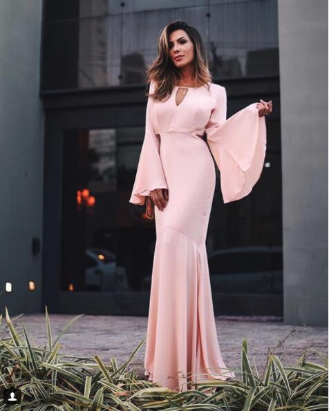 Simple Pink Evening Dresses With Long Sleeves Sheath Dress Evening Wear Prom Dresses Cheap
