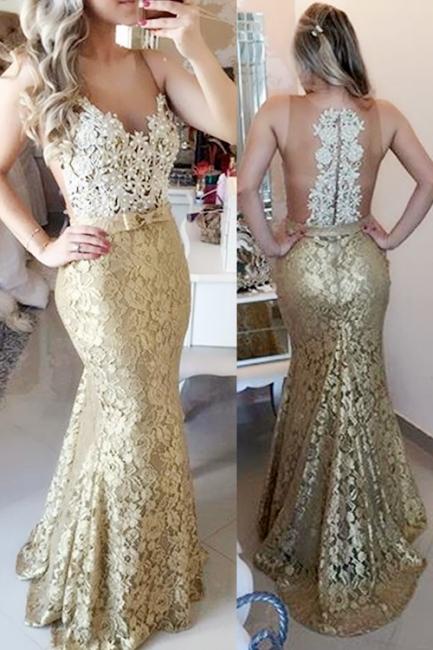 Designer Gold Evening Dresses Long Cheap | Evening wear lace