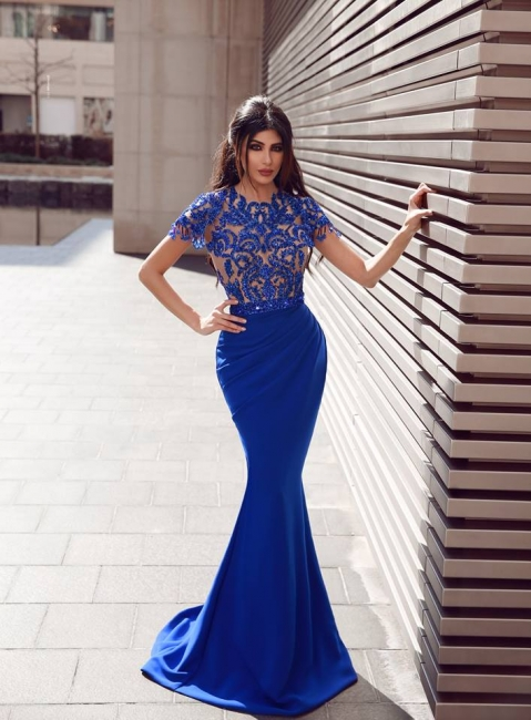Elegant evening dresses with sleeves | Royal blue prom dresses with lace