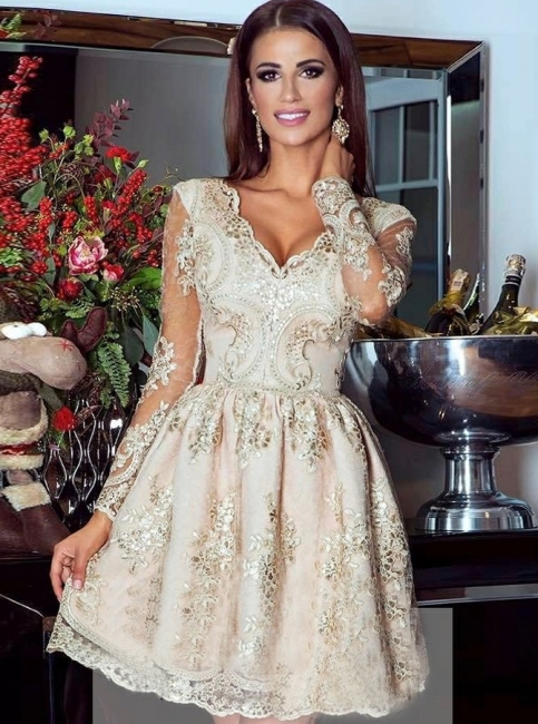 Gold Cocktail Dresses With Sleeves | Homecoming Dresses Short Prom Dresses Online