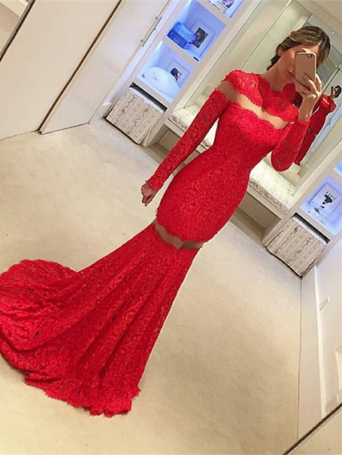 Red prom dresses with lace long sleeves evening wear prom dresses