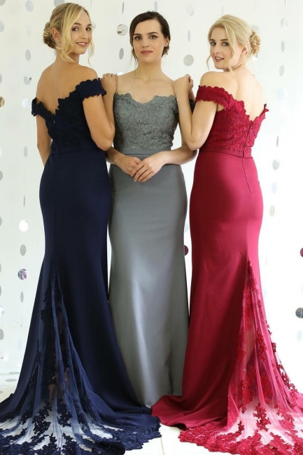 Colored Bridesmaid Dresses Long With Lace A-line Dresses For Bridesmaids