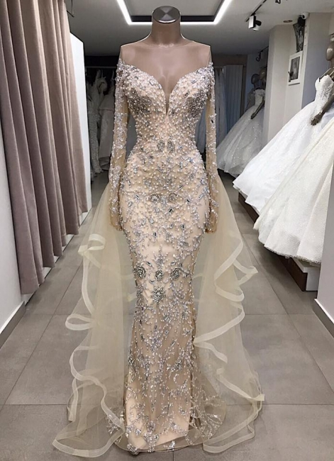 Fashion evening dresses with sleeves | Prom dresses luxury online