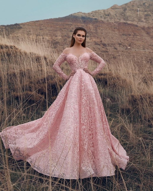 Elegant evening dresses lace pink | Evening wear with sleeves