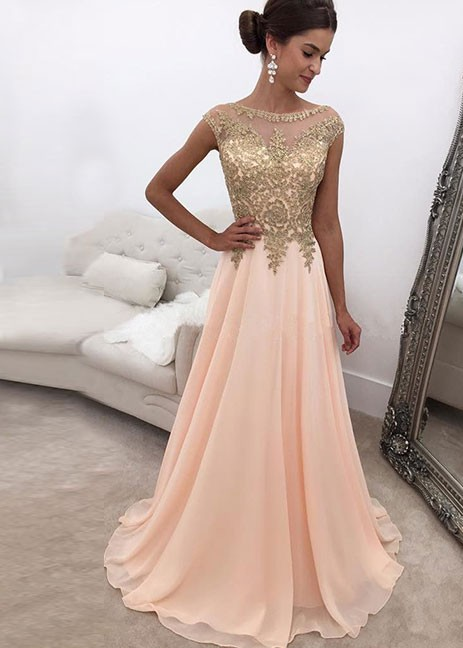 Elegant Evening Dresses Long Lace Chiffon A Line Evening Wear Prom Dresses
