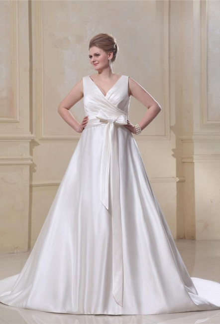 Wedding Dresses Plus Size White Straps A Line Satin Wedding Dresses Plus Size Custom Medium