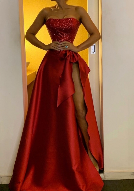 Elegant evening dresses long red | Long glitter prom dresses