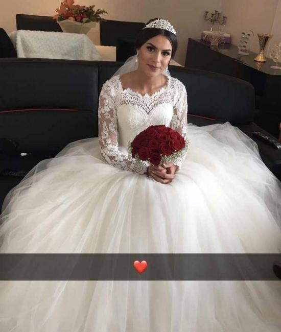 Elegant wedding dress with lace sleeves | Wise bridal wear floor length