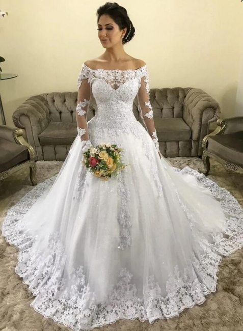 Fashion Hochzeitskleider mit Ärmel | Spitze Brautkleider Online Kaufen