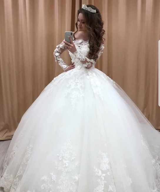 Princess Wedding Dresses With Lace Tulle Wedding Gowns Long Sleeves Cheap