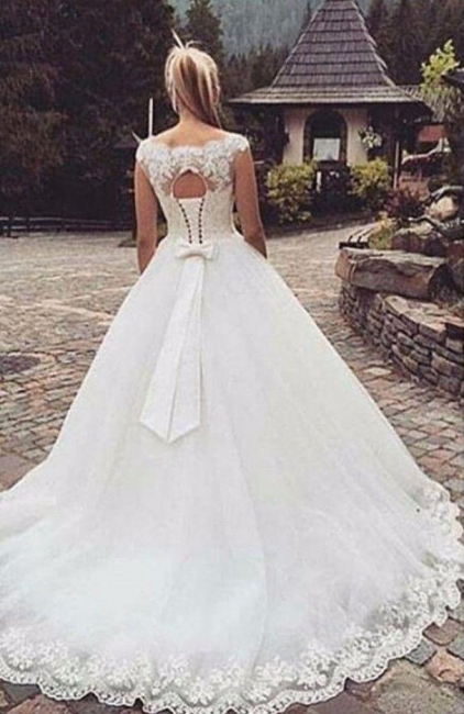 Ball Gown White Wedding Dresses With Lace A-Line Tulle Bridal Wedding Dresses