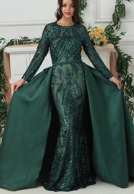 Luxury evening dresses with sleeves green | Long glitter prom dresses