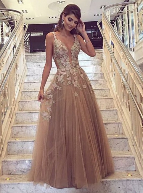 Fashion Champagne Evening Dresses Long Lace Tulle A line Prom Dresses Cheap