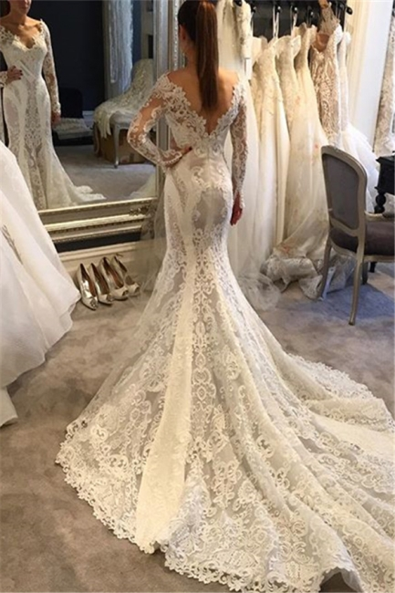 White Wedding Dresses Long Sleeves Heart Mermaid Wedding Dresses Bridal