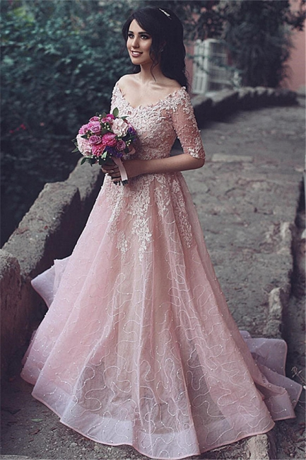 Pink Prom Dresses Long Sleeves A Line Lace Evening Wear Prom Dresses