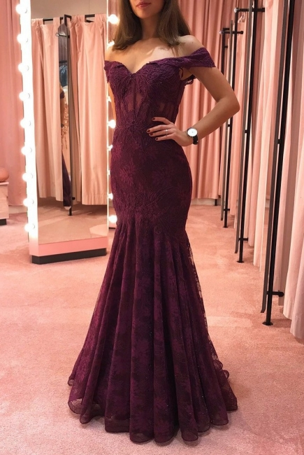 Elegant evening dresses with lace | Burgundy evening wear online