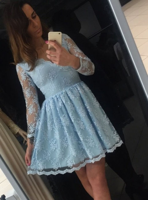 Homecoming Dress Blue Cheap   Short cocktail dresses with sleeves