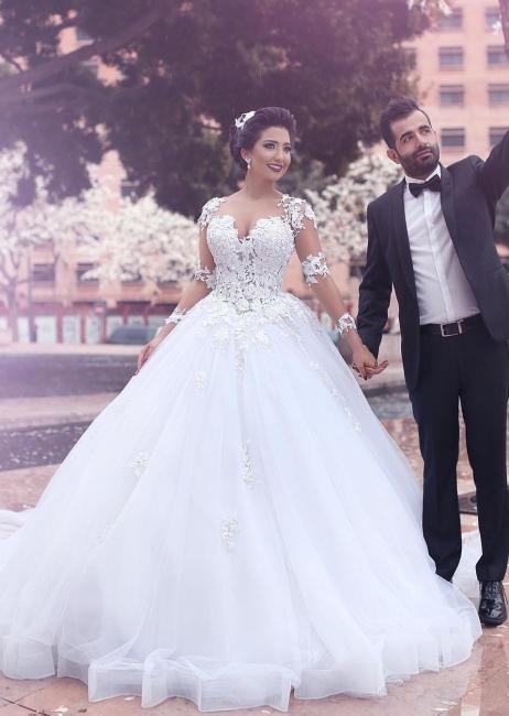 Designer Weiß Brautkleider Lang Ärmel Mit Spitze Prinzessin Organza Hochzeitskleider