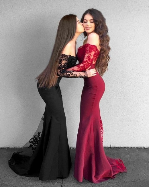 Red Black Prom Dresses Long Pointed Chiffon Mermaid Evening Dresses With Sleeves