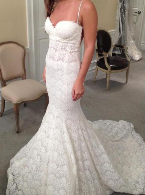 White wedding dresses lace mermaid spaghetti straps wedding gowns bridal