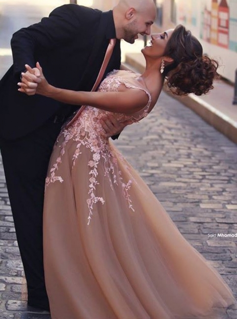 Champagne Evening Dresses Long Cheap With Lace Tulle Evening Wear Prom Dresses