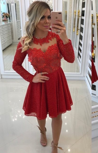 Order Elegant Red Cocktail Dresses Short With Sleeves A Line Evening Dresses