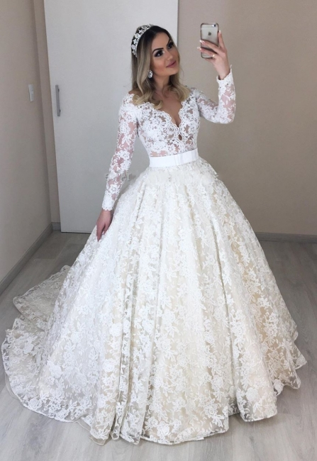 Modern bruat dresses with sleeves | Lace Wedding Dresses Cheap Online