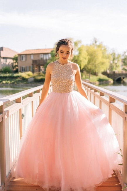 Designer Evening Dresses Prom Dresses Long Pink Beaded A Line Tulle Evening Wear Prom Dresses