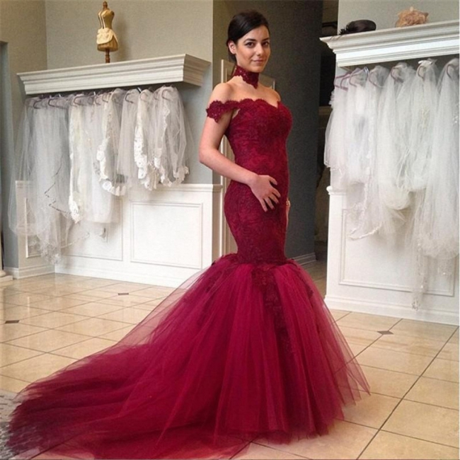Wine red wedding dresses with pointed mermaid tulle colored wedding dresses