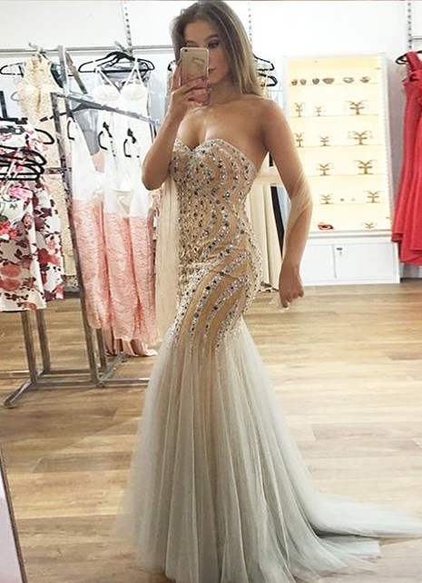 Luxury evening dresses long cheap heart mermaid evening wear for sale