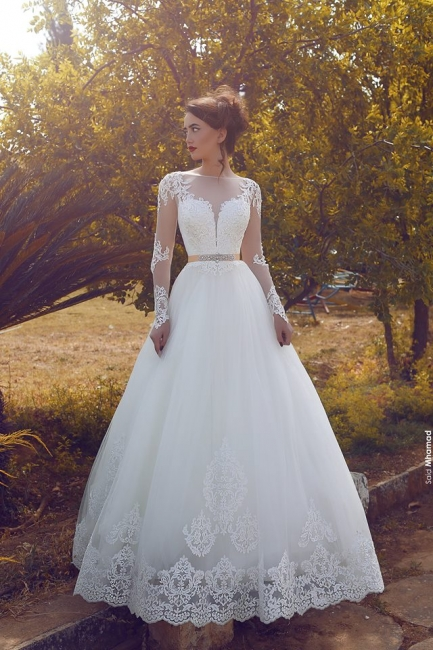 Buy White Wedding Dresses Lace With Sleeves A Line Wedding Dresses Online
