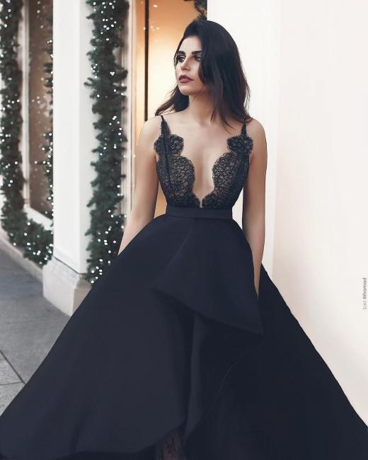 Schwarzes Abendkleid Lang Mit Spitze A Linie Abbendkleider Günstig Online