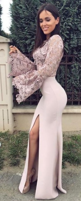 Elegant evening dresses with lace sleeves floor-length prom dresses cheap