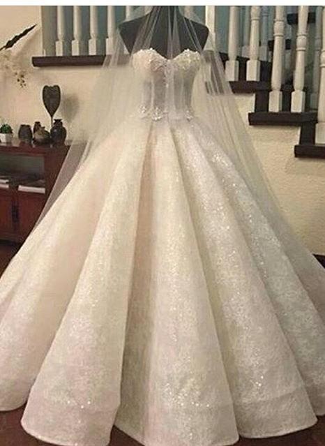 Prinzessin Weiß Brautkleider Spitze Herz Perlen Hochzeitskleider Brautmoden