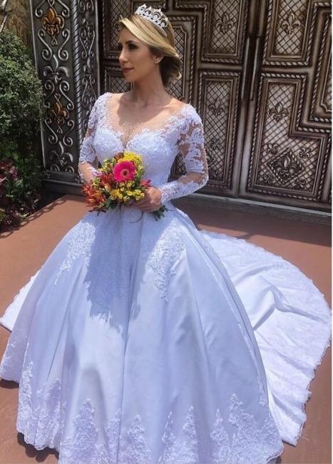 Modern Hochzeitskleider mit Ärmel | Günstig Brautmoden mit Spitze