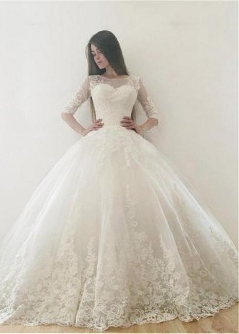 Modern Brautkleid Mit Ärmel | Spitze Hochzeitskleid A Linie
