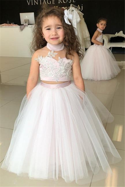Weiße Blumenmädchenkleider Für Hochzeit 2 Teilige Kleider für Blumenkinder