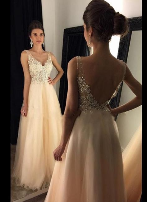 Lange Abendkleider Günstig Träger V Ausschnitt Perlen Tüll Abendmoden Anschlussballkleider