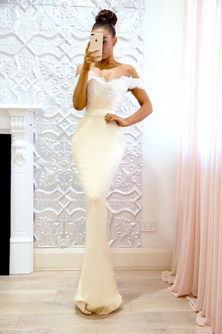Buy elegant white evening dresses long with lace off shoulder evening wear