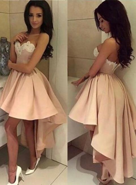 Pink Cocktail Dresses Short Long A Line Satin Party Dresses Cheap