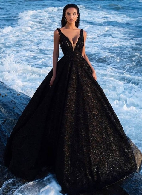 Elegant Evening Dresses Long Black Lace A Line Evening Fashion Prom Dresses