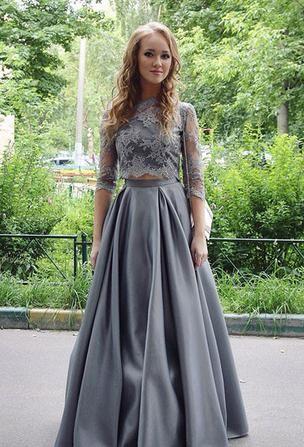 Silber Brautmutterkleider mit Ärmel A Linie Siptze Kleider für Brautmutter Abendmoden